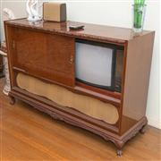 Sale 8368A - Lot 26 - A 1960s carved radiogram with Saba stereo