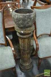 Sale 8398 - Lot 1020 - Stone Planter on Plant Stand