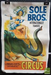 Sale 8409 - Lot 1006 - Robert Burton Sole Bros International Circus Poster Mounted on Canvas