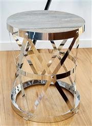 Sale 8450 - Lot 13 - Industrial Repurposed Elm Sidetable with intertwined Stainless Steel base, W 48cm x D 48cm x H 60cm, as new.