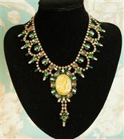 Sale 8448A - Lot 1 - Impressive vintage show-girl Czech crystal, diamante and rhinestone necklace featuring cameo centre piece, highly embellished with c...