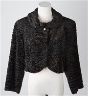 Sale 8550F - Lot 118 - A Basque faux astrachan black cropped jacket with 3/4 sleeves, size S.