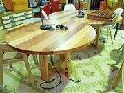 Sale 8629 - Lot 1074 - Hardwood Two Section Round Top Dining Table