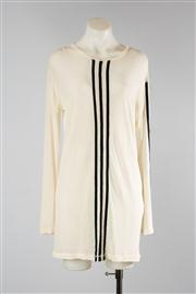 Sale 8740F - Lot 19 - A Yohji Yamamoto cream silk long-sleeved top with contrasting black trim stripes, size 3