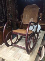 Sale 8839 - Lot 1326 - Rattan Back Bentwood Rocking Chair