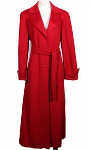 Sale 9029F - Lot 20 - AN ARMANI COLLECTION LONG RED COAT; single breasted with self tie belt, length from shoulder seam to hem 131cm, size EUR 48.