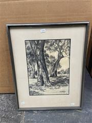 Sale 9041 - Lot 2086 - Artist unknown, Gumtrees, pencil on paper, frame size: 53 x 43 cm, signed GJM lower right