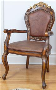 Sale 9070H - Lot 152 - A Louis Style elbow chair with gilt scroll pendant, Height 110cm x Width 62cm