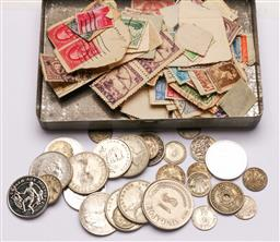 Sale 9128 - Lot 30 - A collection of coins incl Florins, together with a small case of stamps