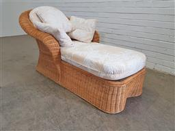 Sale 9151 - Lot 1354 - Cane armchair daybed with collection of throw cushions (h84 x w172 x d82cm)