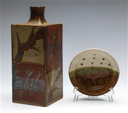 Sale 9168 - Lot 15 - A Japanese square form bottle vase and a small dish (H:25cm) (Dia:13cm)