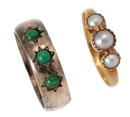 Sale 9186 - Lot 302 - TWO ANTIQUE PEARL AND TURQUOISE RINGS; a 6mm wide 9ct gold band set with 3 turquoise beads, size N 1/2, wt. 4.71g, and a 20ct gold c...