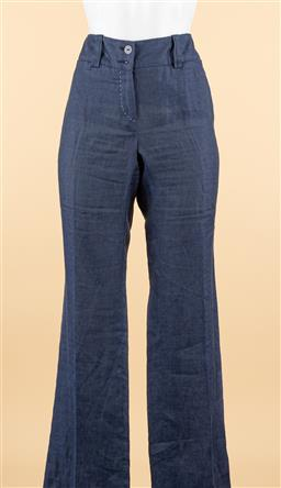 Sale 9250F - Lot 55 - A pair of Luisa Spagnoli navy blue linen pants with white detailed stitching, size 42.
