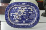 Sale 7998 - Lot 18 - Pair of Willow Pattern Meat Platters