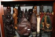 Sale 8100 - Lot 94 - Timber Carved Figures & Others including Bone
