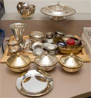 Sale 8310A - Lot 227 - A quantity of metal wares, including candle holders, small dishes, and lidded bowls