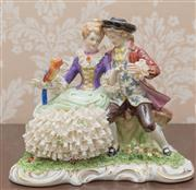 Sale 8375A - Lot 13 - An Unterweissbach figural group of young couple with parrot. Height 20 cm