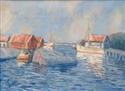 Sale 8645 - Lot 2092 - Herbert Jacob Gute (1908 - 1977) - Moored Boat, Tranquil Harbour 45 x 60cm