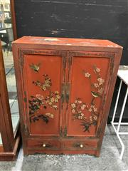 Sale 8787 - Lot 1009 - Chinese Cupboard With Two Doors & Drawers