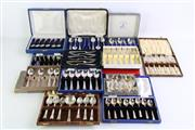 Sale 8852 - Lot 87 - A collection of boxed teaspoons and fork sets, fourteen in total