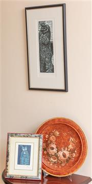 Sale 8926K - Lot 86 - Two lithographs by Yvonne Holmes together with a lacquer display plate also by Holmes (D 39cm)