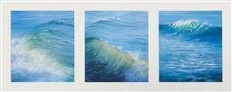 Sale 9141A - Lot 5043 - DAVID BRAYSHAW (3 works) Wave Studies Kaima oil on card 6.5 x 15 cm each (frame: 57 x 89 x 3 cm) one signed lower left, inscribed an...