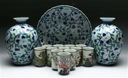 Sale 9144 - Lot 99 - A collection of Japanese blue and white porcelain inc a pair of vases (H:24cm) bowl (Dia:28cm) and small cups
