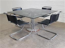 Sale 9151 - Lot 1150 - Set of 4 Mies van der Rohe style chairs and matching table (h:71 x w:130 x d:130cm)