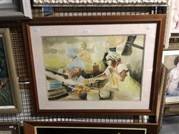 Sale 9172 - Lot 2045 - Artist Unknown Women Cooking, 1991 watercolour, frame: 56 x 72 cm, signed and dated lower right