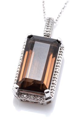 Sale 9253J - Lot 314 - A SILVER SMOKY QUARTZ AND DIAMOND PENDANT NECKLACE; featuring an emerald cut smoky quartz of approx. 8.65ct to surround of 20 round...