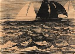 Sale 9244 - Lot 510 - CHARLES BLACKMAN (1928 - 2018) Southerly Buster lithograph ed. 72/100 53 x 75.5 cm (frame: 79 x 96 x 4 cm) signed lower right