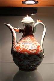 Sale 8088 - Lot 97 - Chinese Iron Red Dragon Tea Pot