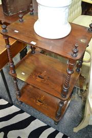 Sale 8093 - Lot 1414 - 3 Tiered Inlaid Whatnot on Turned Supports