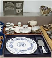 Sale 8310A - Lot 228 - A quantity of ceramic wares, including egg cups, coffee cups and sauces, and a Royal Worcester cake stand and slice in box