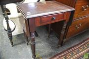 Sale 8335 - Lot 1095 - 19th Century Cedar Printers Pembroke Table, with drop leaves (one hinge snapped), frieze drawer & turned legs