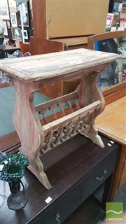 Sale 8404 - Lot 1052 - Rustic Stool with Magazine Rack Below
