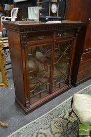 Sale 8500 - Lot 1002 - Good Late Victorian Walnut Dwarf Bookcase, with dentil frieze, two drawers & two astragal doors, on plinth base (Key in Office)