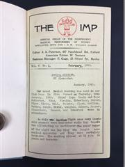 Sale 8539M - Lot 50 - The Imp Magazine, Feb 1940 - January 1942, vols 6 no. 1 - vol. 7 no. 12. Nicely bound in grey cloth