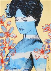Sale 8781A - Lot 5006 - David Bromley (1960 - ) - Charlotte with Flowers 29.5 x 20.5cm (frame size: 40 x 31cm)