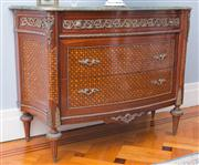 Sale 8575H - Lot 13 - A marble top marquetry console table in the French taste with ormolu mounts, having 1 slim drawer, 2 larger drawers, raised on taper...