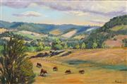 Sale 8631 - Lot 2023 - Yvonne West - Cattles Grazing Near Scone 36 x 53cm