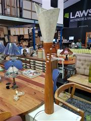 Sale 8629 - Lot 1064 - Timber Lamp with a Mother of Pearl Shade (H: 113.5cm)