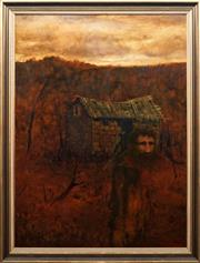 Sale 8771 - Lot 2029 - Neville Pilven - Lone Man and Hut 120 x 89cm