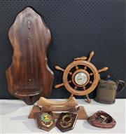 Sale 8976N - Lot 337 - Collection of Nautical Themed Items incl. Wheel Form Barometer, Water Flask etc (Various Sizes)