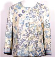 Sale 9029F - Lot 5 - A COLLETTE DINNIGAN FLORAL JACKET; three quarter sleeves, concealed pop button, original style No. 13151080, number 41 worldwide, 80...