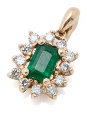 Sale 9046 - Lot 553 - A 14CT GOLD EMERALD AND DIAMOND PENDANT; bead claw set with an emerald cut emerald to surround of 12 round brilliant cut diamonds, s...