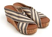 Sale 9071F - Lot 68 - A PAIR OF CROWN VINTAGE STRAPPY WEDGES; with blue and cream stripes,  size 36