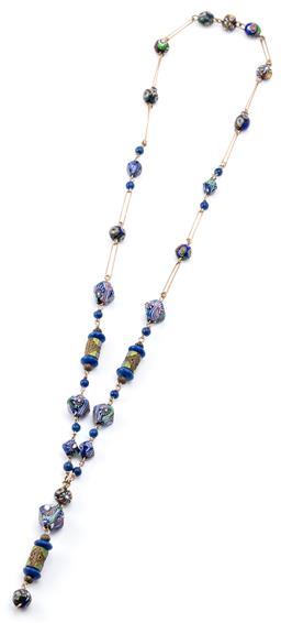 Sale 9128J - Lot 26 - A VINTAGE SILVER GILT GLASS BEAD NECKLACE; paper clip links to 9-14mm round and square millifiore glass beads and enamelled cylinder...