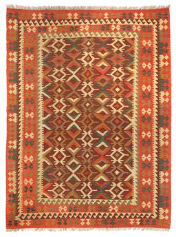 Sale 9123J - Lot 181 - A vintage Kilim rug, the repeating geometric pattern over an orange coloured ground, 300 x 200cm