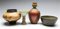 Sale 9168 - Lot 98 - A collection of studio pottery inc drip glazed cup, corked vase and a bowl (H:24cm)